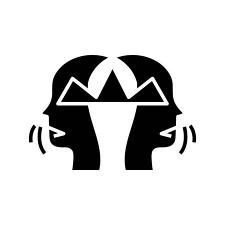 Crushing thoughts black icon, concept illustration Illustration