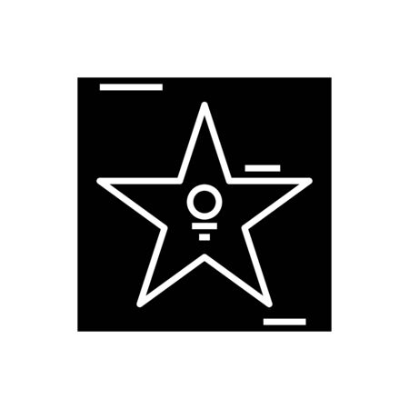 Star alley black icon, concept illustration