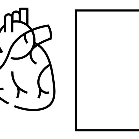 Internal organ the heart line icon, concept sign Illustration