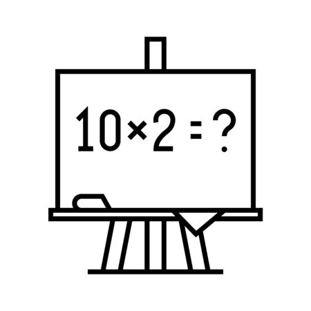 Mathematical example line icon, concept sign