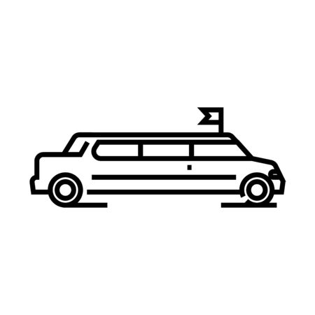 Long limo line icon, concept illustration, outline symbol, vector sign, linear symbol.