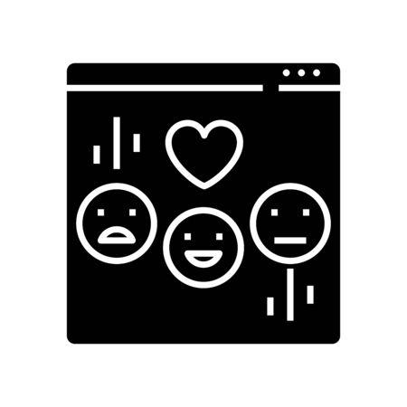 Emoji chat black icon, concept illustration, glyph symbol, vector flat sign.