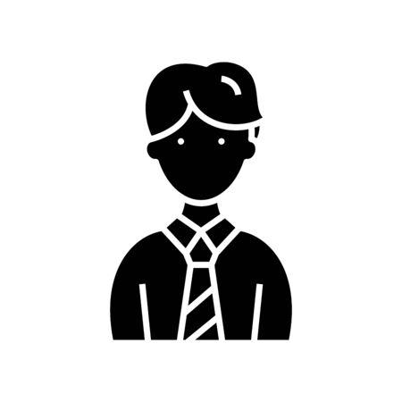 Employee black icon, concept illustration, glyph symbol, vector flat sign. Vecteurs