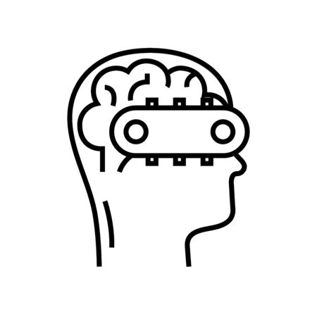 Mind system line icon, concept sign