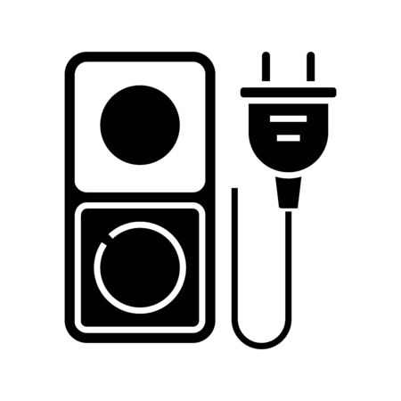 Electricial outlets black icon, concept illustration, glyph symbol, vector flat sign. Vectores