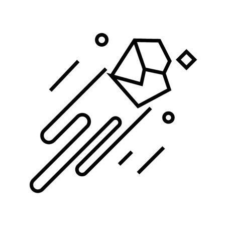Meteor line icon, concept sign Stock Vector - 141827462