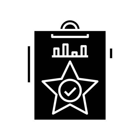 Excellent result black icon, concept illustration