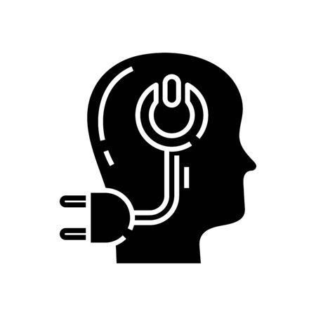 E intellect black icon, concept illustration Stock Vector - 141827470