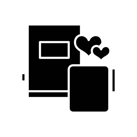 Diary notes black icon, concept illustration 向量圖像
