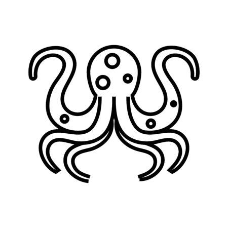 Octupus line icon, concept illustration, outline symbol, vector sign, linear symbol. Illustration