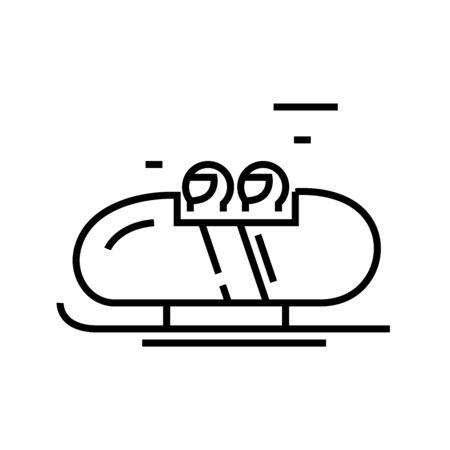 Bobsleigh line icon, concept sign