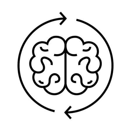 Researching mind line icon, concept sign, outline vector illustration, linear symbol. Ilustracja