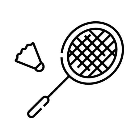 Badminton game line icon, concept sign, outline vector illustration, linear symbol.