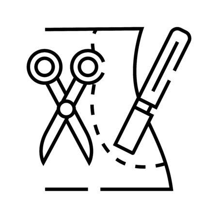 Plastic sergery incision line icon, concept illustration, outline symbol, vector sign, linear symbol. Illustration