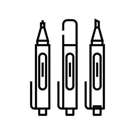 Sketching pens line icon, concept sign, outline vector illustration, linear symbol.