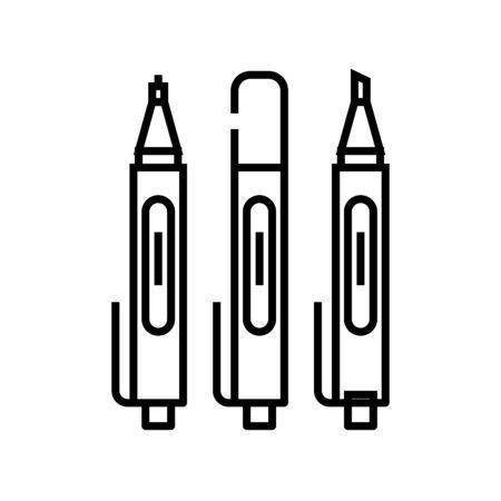 Sketching pens line icon, concept sign, outline vector illustration, linear symbol.