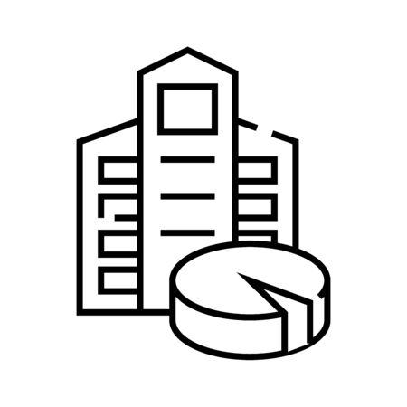 Shareholders dole line icon, concept illustration, outline symbol, vector sign, linear symbol.
