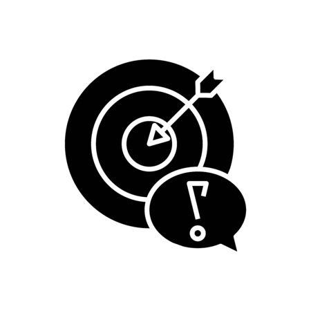 Hitting target black icon, concept illustration flat symbol, glyph sign.