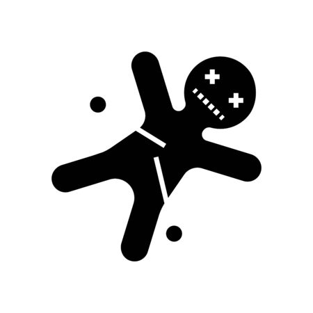 Vodoo doll black icon, concept illustration, vector flat symbol, glyph sign. Ilustración de vector