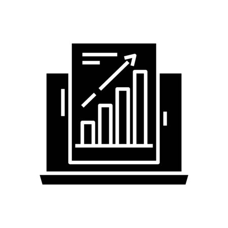 Increasing data black icon, concept illustration, glyph symbol, vector flat sign.