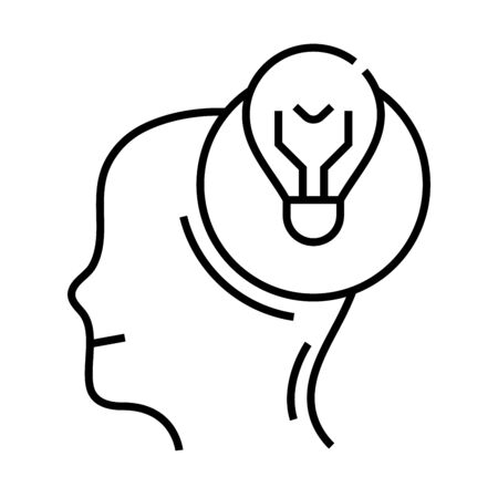 Sudden thought line icon, concept illustration, outline symbol, vector sign, linear symbol.