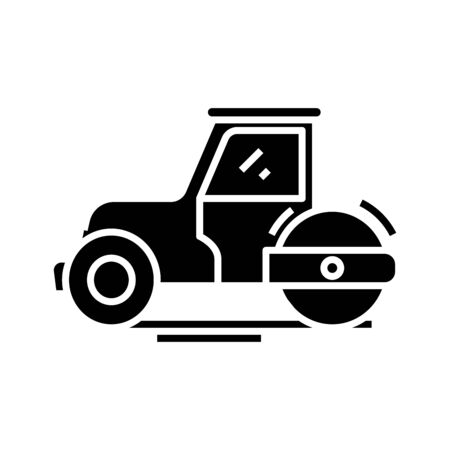 Tractor black icon, concept illustration, glyph symbol, vector flat sign. Ilustração