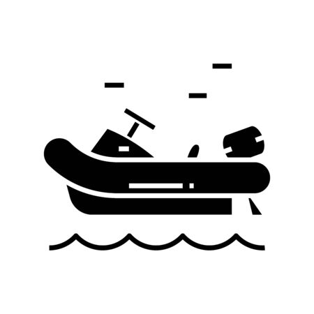 Water boat black icon, concept illustration, vector flat symbol, glyph sign.