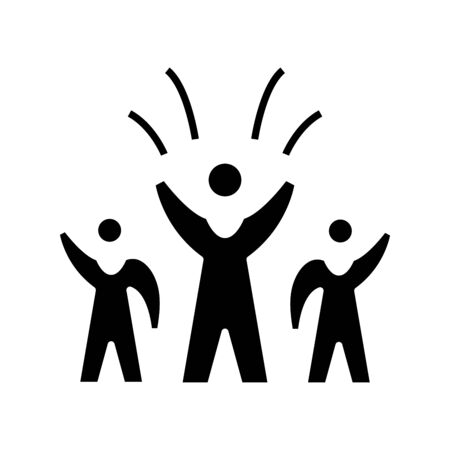 Victory black icon, concept illustration, vector flat symbol, glyph sign.