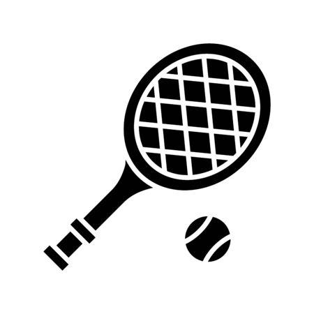 Tennis black icon, concept illustration, vector flat symbol, glyph sign.