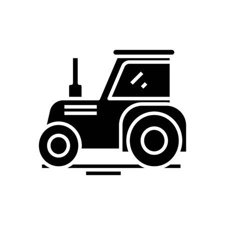 Tractor black icon, concept illustration, vector flat symbol, glyph sign.