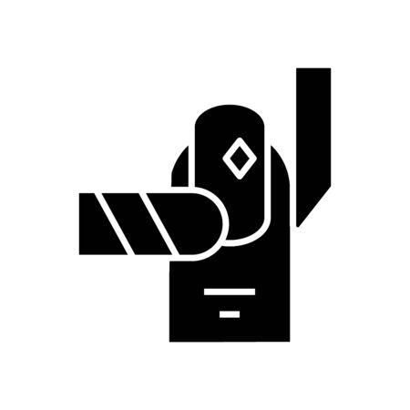 Manicure black icon, concept illustration, vector flat symbol, glyph sign.
