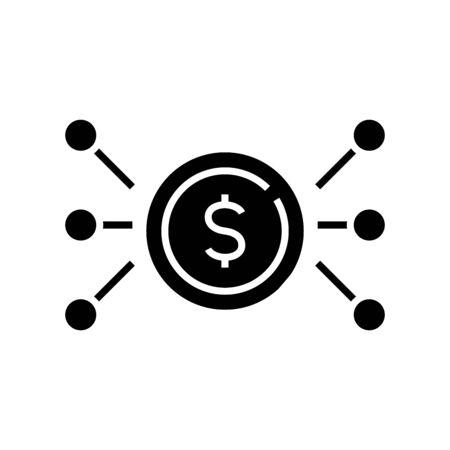 Money distribution black icon, concept illustration, vector flat symbol, glyph sign.