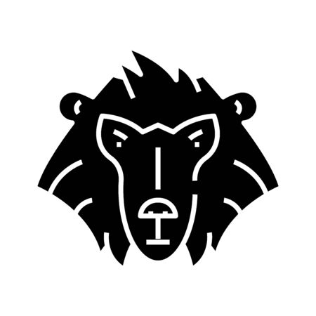 Orangutan monkey black icon, concept illustration, vector flat symbol, glyph sign.