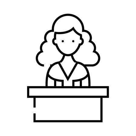Testifier line icon, concept illustration, outline symbol, vector sign, linear symbol.