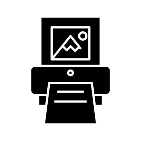 Printing black icon, concept illustration, glyph symbol, vector flat sign. Vettoriali