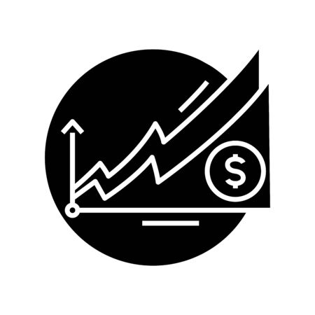 Profit increasing black icon, concept illustration, glyph symbol, vector flat sign.