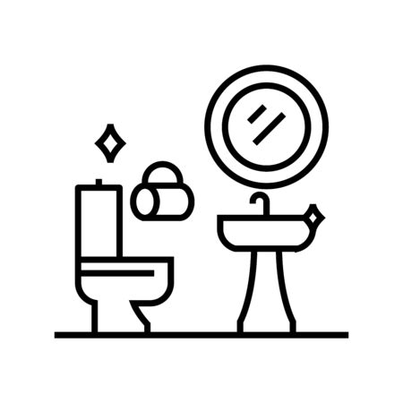 Toilet cleaning line icon, concept illustration, outline symbol, vector sign, linear symbol.