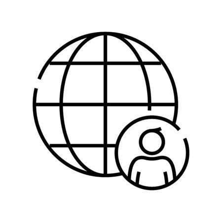 World citizen line icon, concept illustration, outline symbol, vector sign, linear symbol. Foto de archivo - 142014710