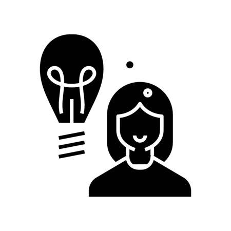 New idea black icon, concept illustration, glyph symbol, vector flat sign.
