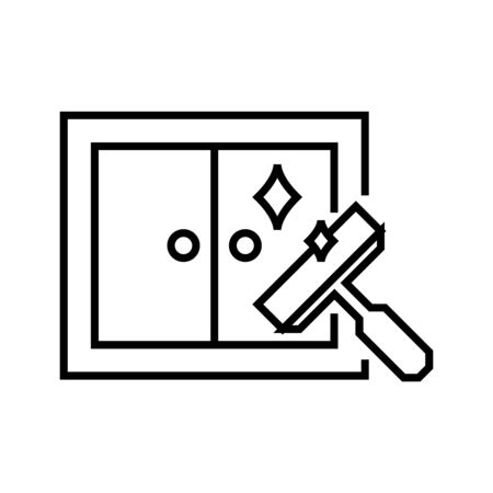 Window cleaning line icon, concept illustration, outline symbol, vector sign, linear symbol.