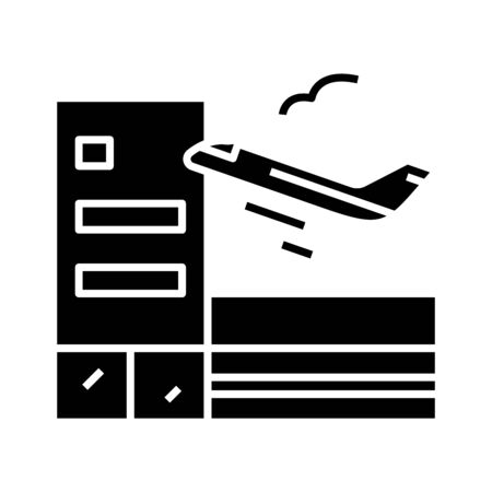 Plane takeoff black icon, concept illustration, glyph symbol, vector flat sign.