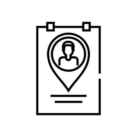 Worker location line icon, concept illustration, outline symbol, vector sign, linear symbol. 向量圖像