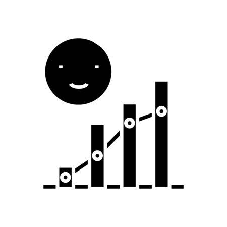Potential growth black icon, concept illustration, glyph symbol, vector flat sign. Illustration