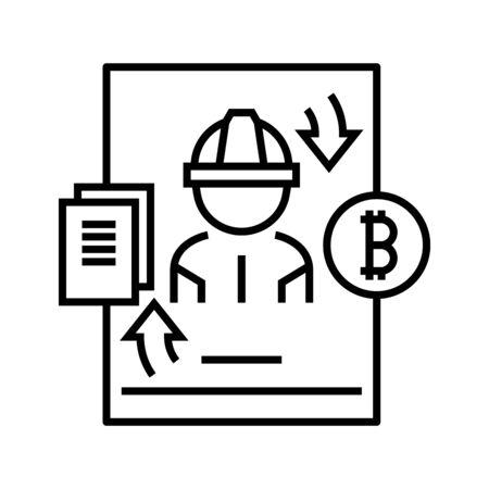 Work obligation line icon, concept illustration, outline symbol, vector sign, linear symbol.