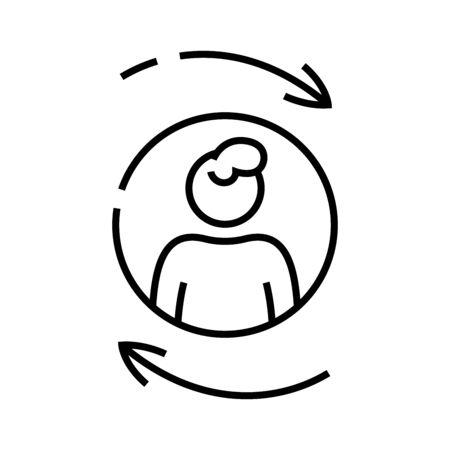 Work cycle line icon, concept illustration, outline symbol, vector sign, linear symbol. Ilustração