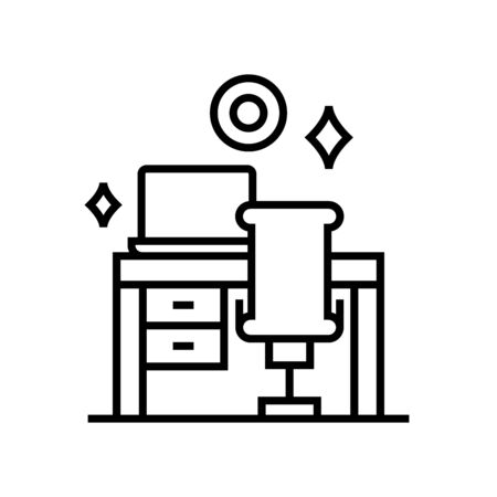 Workplace cleaning line icon, concept illustration, outline symbol, vector sign, linear symbol.