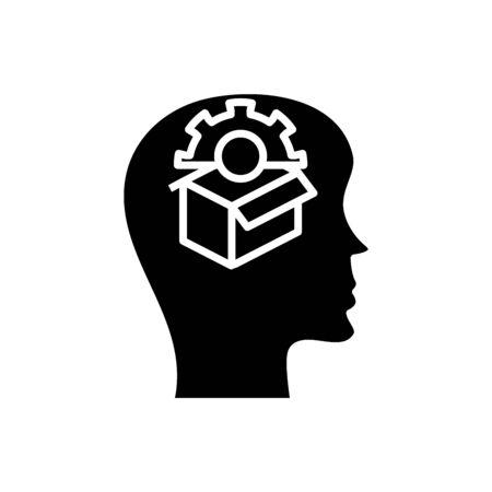New solution black icon, concept illustration, glyph symbol, vector flat sign.