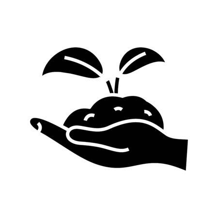 Plant black icon, concept illustration, glyph symbol, vector flat sign.