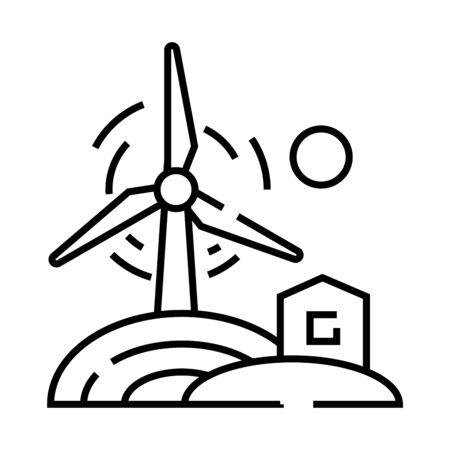 Wind energy line icon, concept illustration, outline symbol, vector sign, linear symbol.