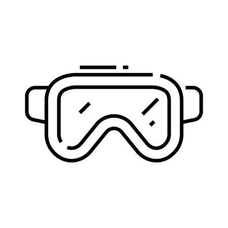Underwater mask line icon, concept illustration, outline symbol, vector sign, linear symbol.